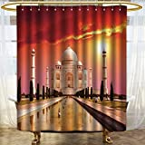 Grommet Shower Curtain with Printing/Colorful Fabric Shower Curtain/Home Decor Shower Curtain/Polyester Fabric Waterproof Mildew Resistant Shower Curtain Set With Hooks(Taj Maha palace in India on)