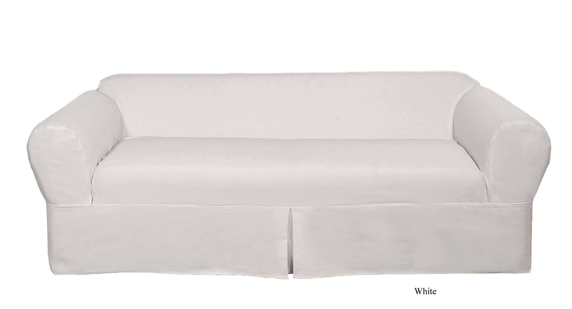 Classic Slipcovers WDEN2PC10WHT Sofa, 2 Piece, Separate Cushion Cover, Pure White