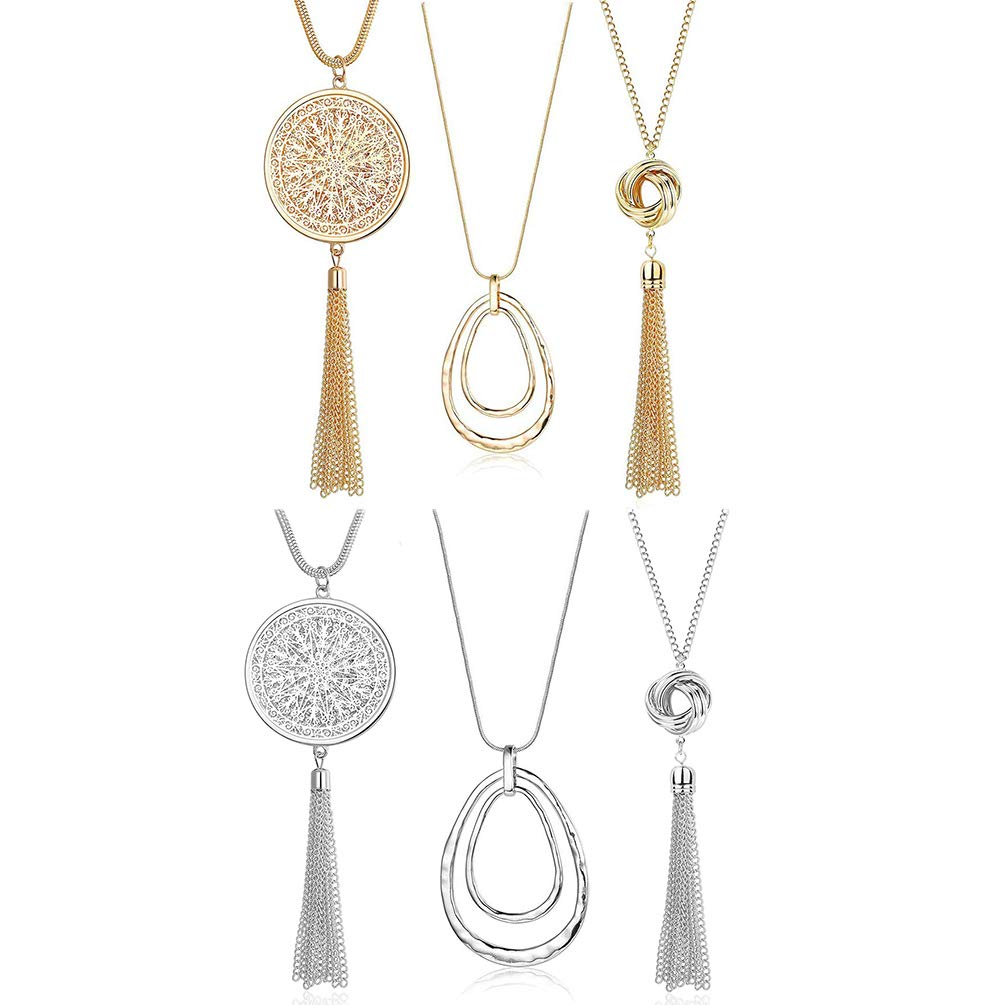 SEVENSTONE 3PCS Long Pendant Necklaces for Women Knot Disk Circle Tassel Statement Sweater Necklace Set