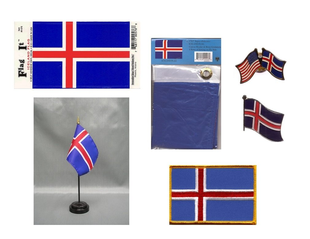 Iceland Heritage Flag Pack - Includes a Icelandic 3x5' Flag, Vinyl Flag Decal, One Single & One Double Friendship Flag Lapel Pin, Miniature Desk Flag With Stand & One Iron-On Flag Patch