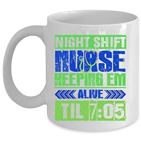 Novelty Funny Nurse Nursing 11 oz White Ceramic Coffee Mug Keeping Em Alive