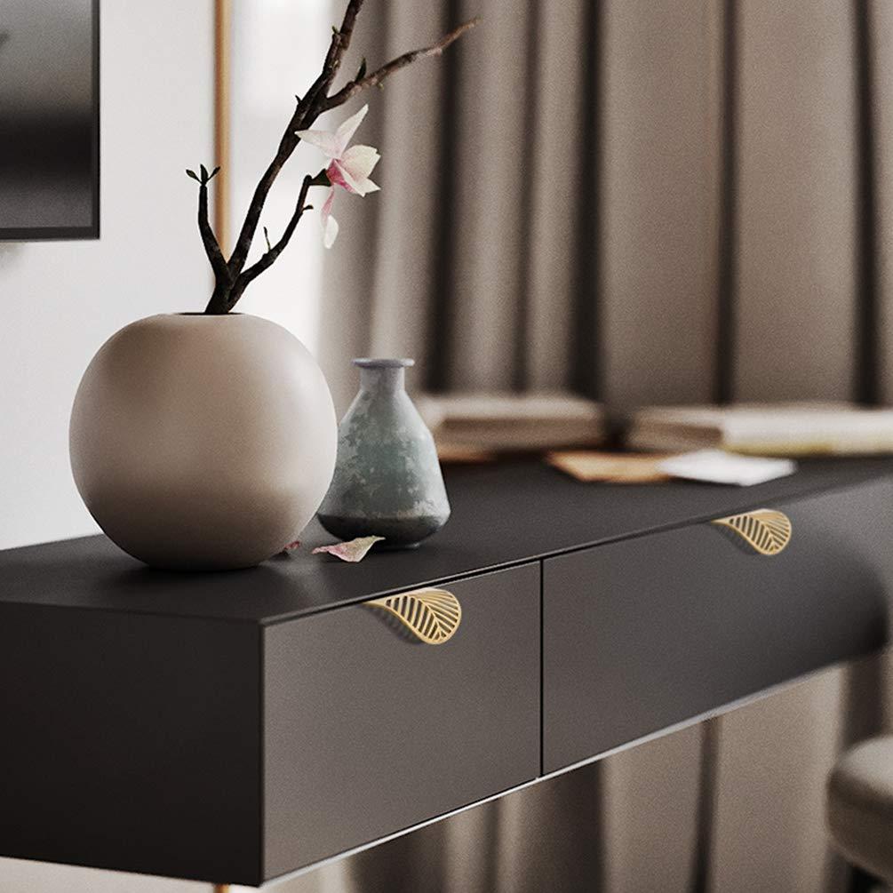 unsichtbarer Schubladengriff SHRMLG147 Messing-T/ürhebel reines Kupfer frei Lochabstand 39 mm Gold modern minimalistisch 39mm Blattstruktur