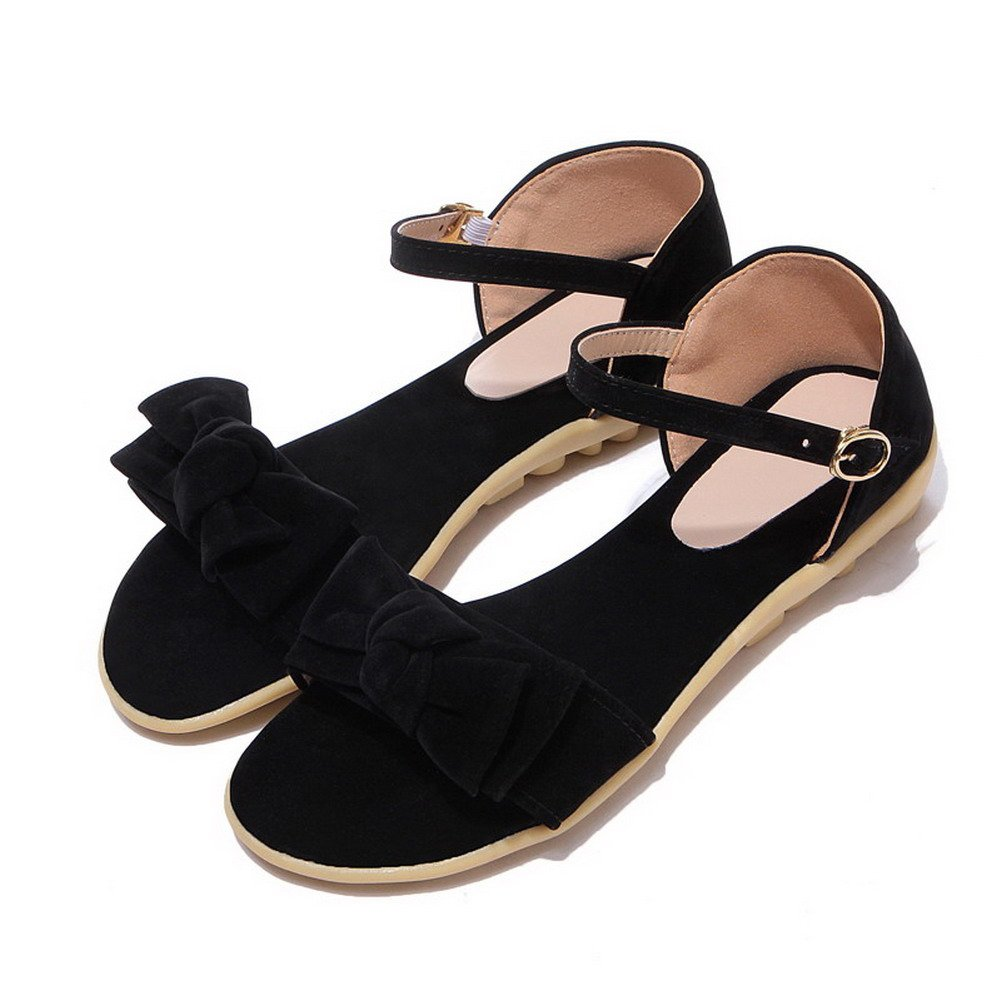 20dd3cf46d85 ... WeiPoot WeiPoot WeiPoot Women s Solid Frosted Low-Heels Buckle Open-Toe  Sandals B07GKJZ6HS 5.5