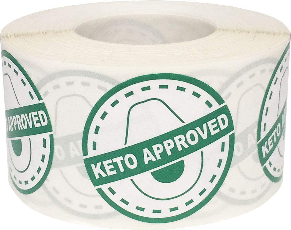 Keto Approved Food Rotation Labels 1.25 Inch Round Circle Dots 500 Adhesive Stickers
