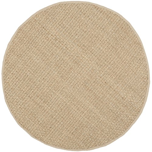 Safavieh Natural Fiber Collection NF114A Basketweave Natural and  Beige Seagrass Round Area Rug (7' Diameter) - Beige 7' Round Area Rug