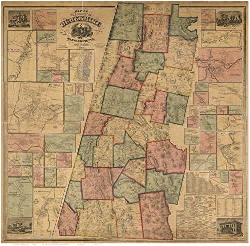 Berkshire County Massachusetts 1858 - Wall Map with Homeowner Names - Old Map - Lee Massachusetts Map