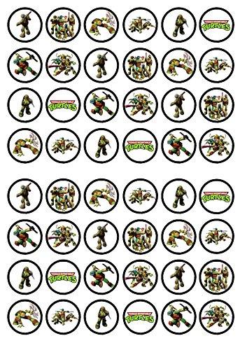 48 TMNT Teenage Mutant Ninja Turtles Edible PREMIUM THICKNESS SWEETENED VANILLA, Wafer Rice Paper Cupcake Toppers/Decorations ()