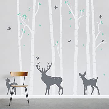 Wallums Birch Tree Forest With Deer Wall Decal   96u0026quot; Tall   White  Trunk,