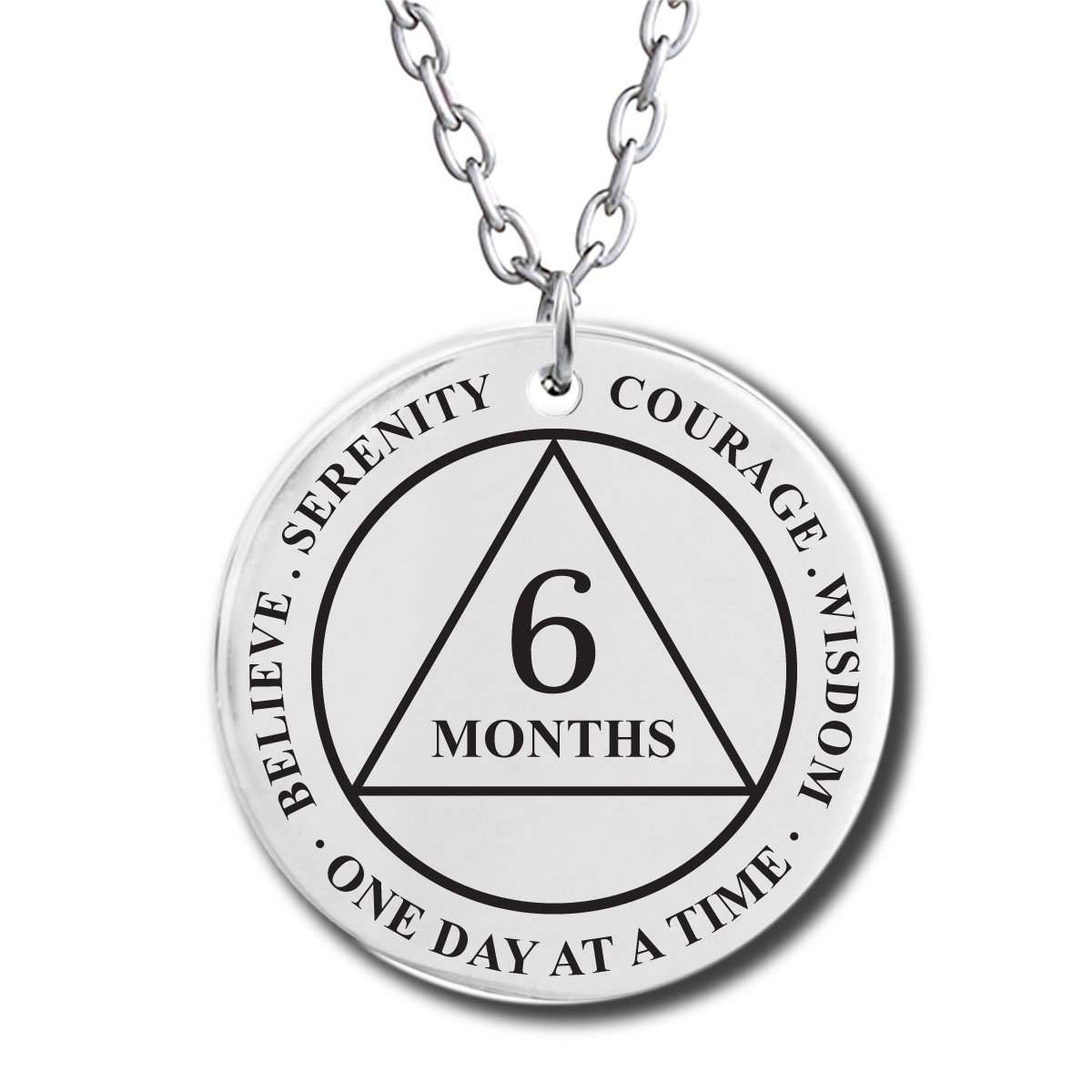 6 Month Sobriety Gifts - Recovery Medallion Necklace - Alcoholics Narcotics Anonymous AA NA Sobriety Pendant | Amazon.com