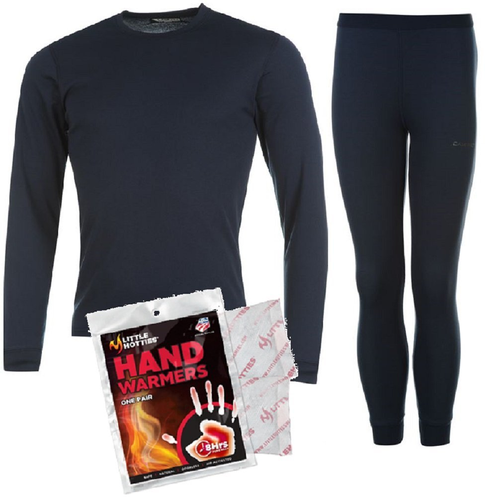 Campri Junior Base Layer Bundle Thermal Top & Pant + Hand Warmer Set Unisex Sports