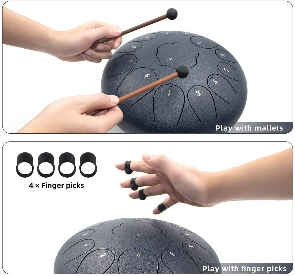 Dark Blue BURNING/&LIN Steel Tongue Drum Chakra Tank Drum 13 Notes 12 inches C-Major Handpan Drum with Bag Music Book Mallets Finger Picks