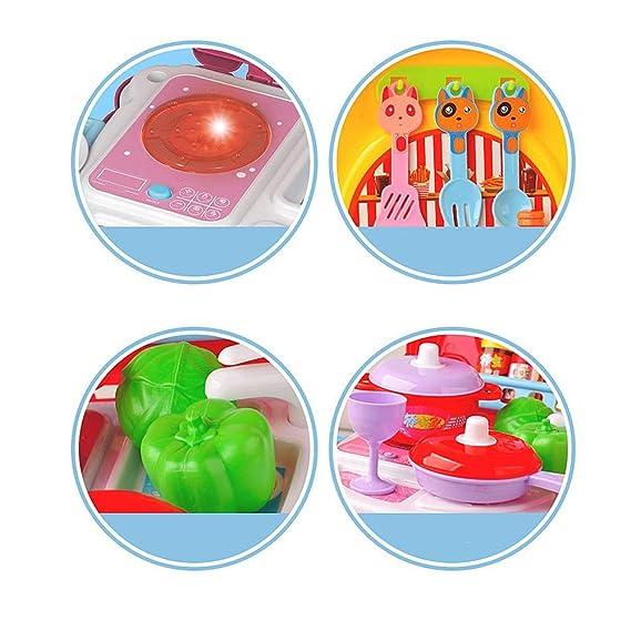 Casa de muñecas Juego de simulación Ice Cream Pizza BBQ Hamburguesa Comida BBQ Hot Dog Peces Carro Carrito Cocina Juego de cocina Juguete con música e ...