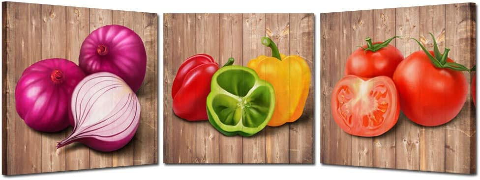 Kreative Arts 3 Piece Wall Art Sets Retro Vegetables Canvas Prints Tomatoes Onions Chilies and Peppers Vintage Kitchen Pictures Decor Framed Still Life Paintings Print Ready to Hang (12x12inchx3pcs)