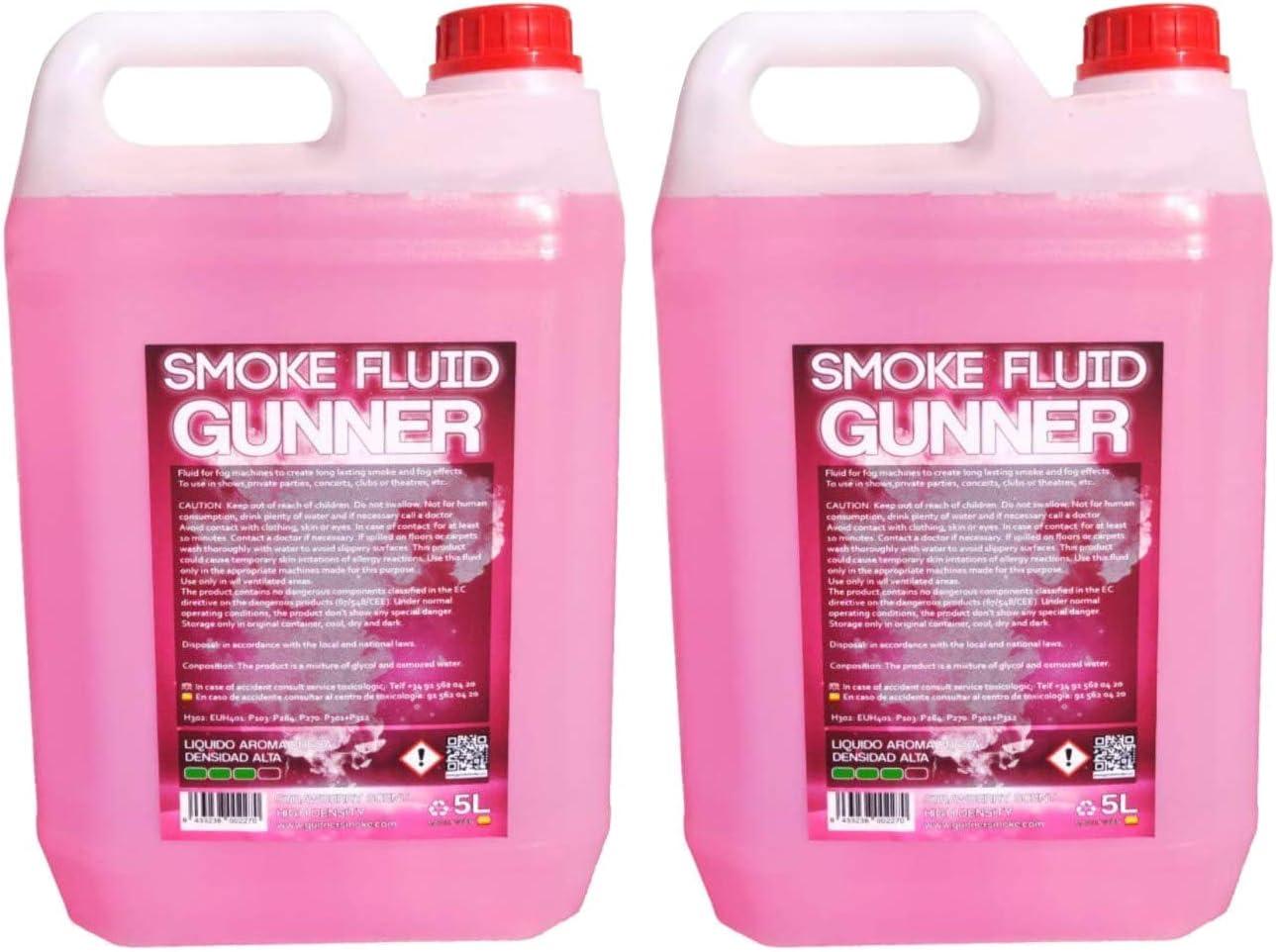 Liquido de humo Pack 2 x de ALTA DENSIDAD olor FRESA 5L Liquido de niebla,Humo Gunner Smoke