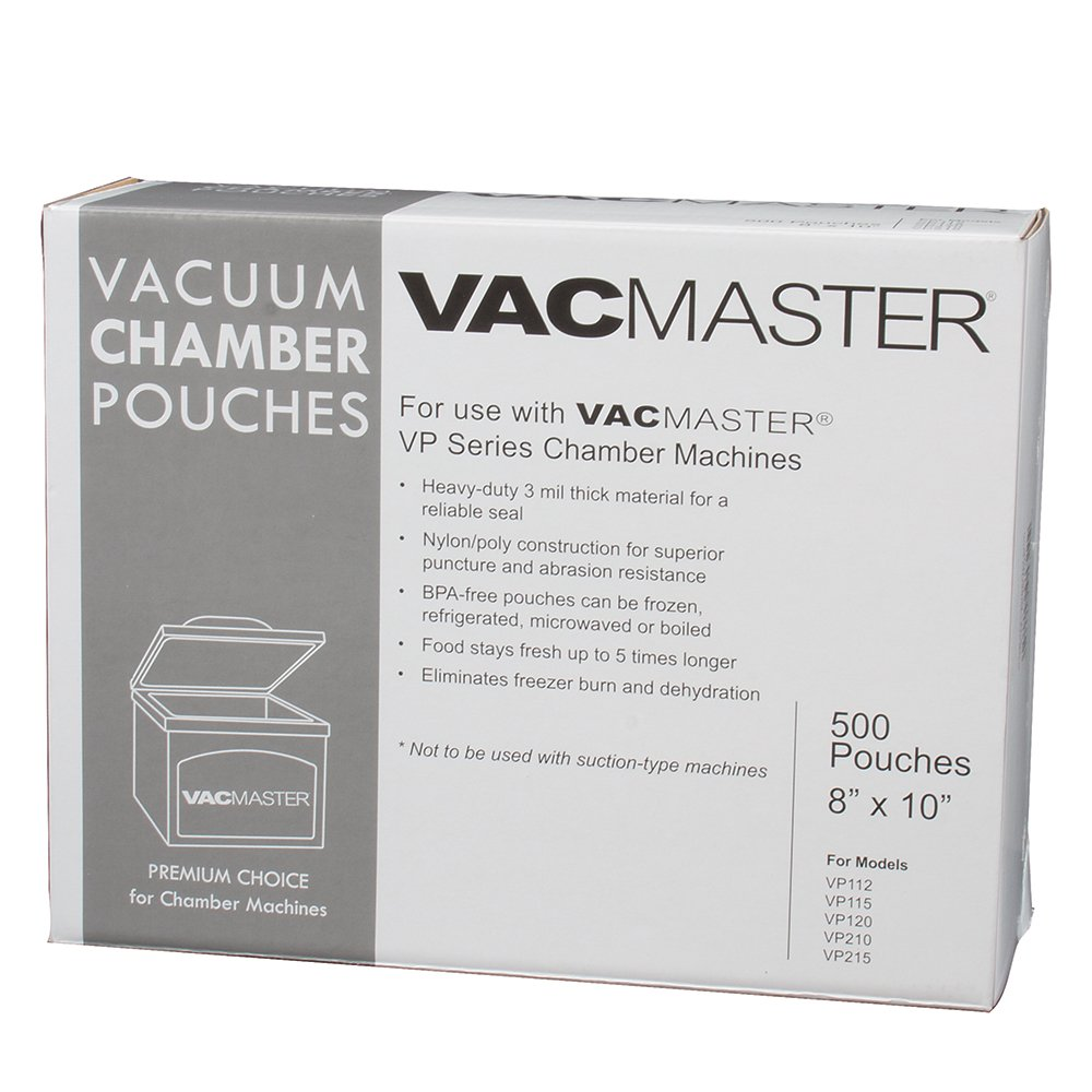 VacMaster 40722 3-Mil Vacuum Chamber Pouches, 8-Inch by 10-Inch, 500 per Box