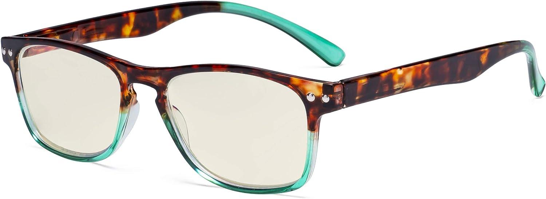 Eyekepper Gafas Bloqueo de luz azul - Protección UV420 Gafas de ordenador diseñadas para la pantalla de lectura Mujeres - Tortuga/Verde +1.50