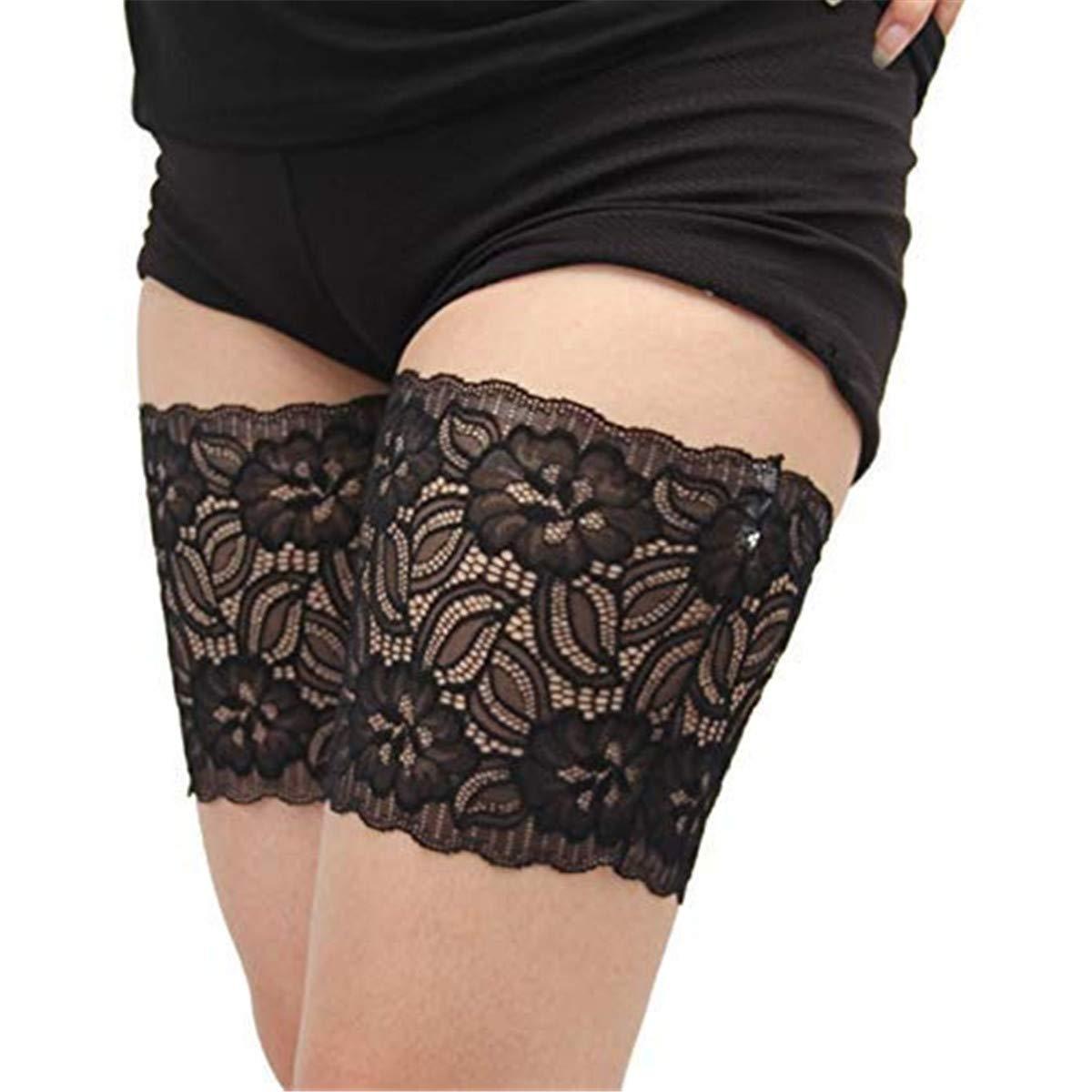 Damen Elastische Oberschenkelb/änder Socken Anti Chafing Thigh Bands Lace Oberschender B/änder Anti-Scheuern