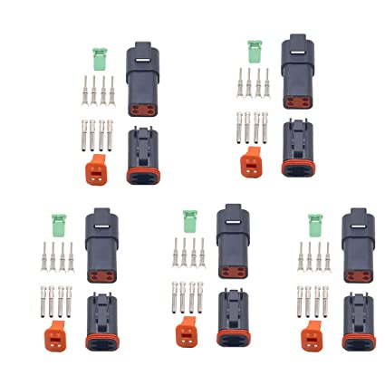 CNKF Black 5 Sets 4 Pin DT Connectors DT04-4P,DT06-4S Automobile waterproof wire electrical connector