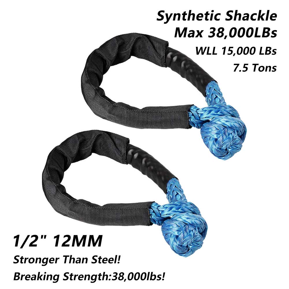 Blue Synthetic Soft Shackle Rope 38,000lbs Breaking Strength Set of Two 1//2 Inch X 22 Inch Soft Shackle Rope Synthetic with Protective Sleeve for Boating SUV ATV Truck Jeep Recovery Blue, 2 Pack