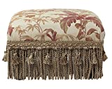 Jennifer Taylor Home Fiona Collection Traditional Style Upholstered Fringed and Tasseled Rectangular Wood Framed Footstool, Light Coral