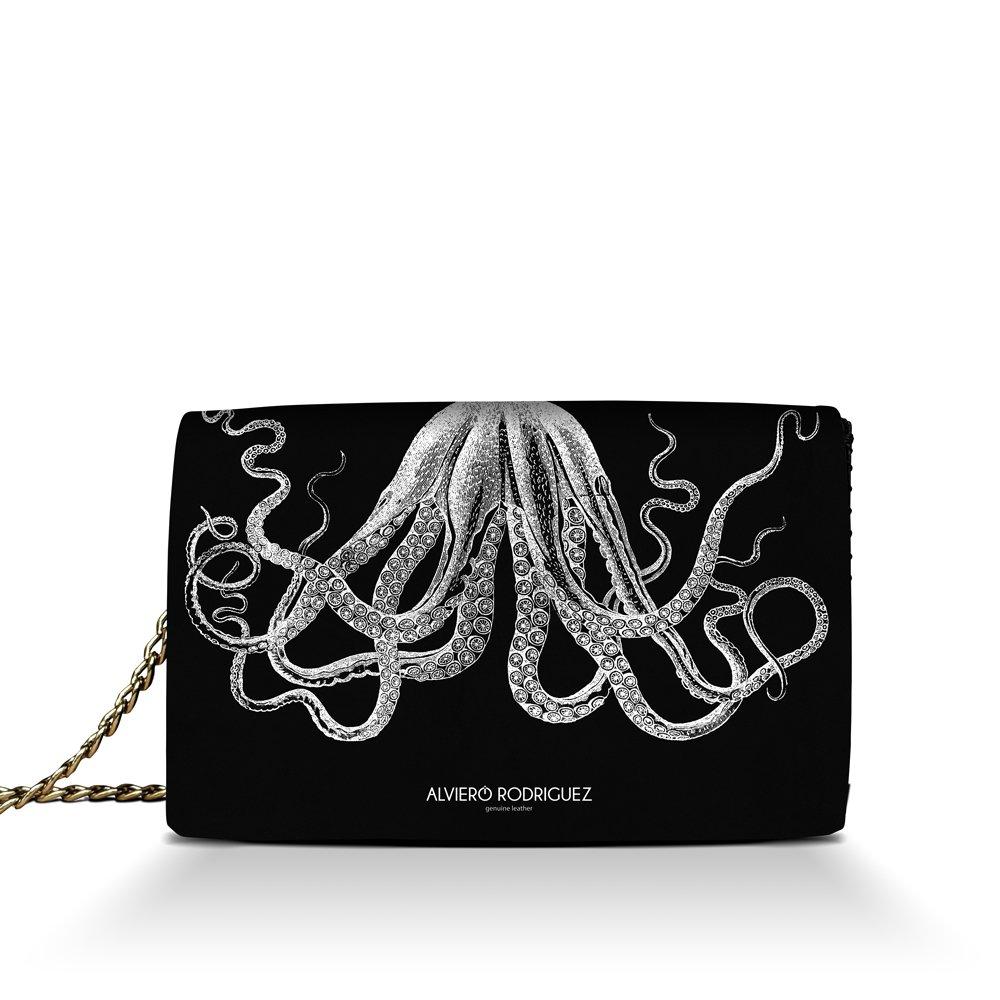 a2029c7116 Alviero Rodriguez Borsa Donna Octopus Tentacoli Polipo in Vera Pelle  (Catena Argento): Amazon.it: Scarpe e borse