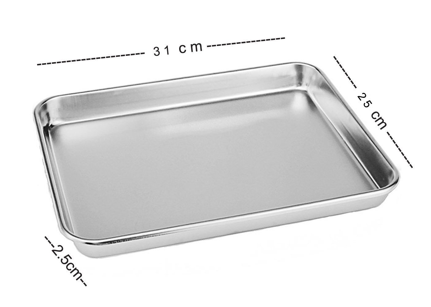 Aeehfeng Stainless Steel Toaster Oven Pan Tray Ovenware, Big Size 12'' x 10'' x 1'', Rust Resistant & Healthy, Mirror Finish & Deep Edge, Easy Clean & Dishwasher Safe by aeehfeng (Image #2)