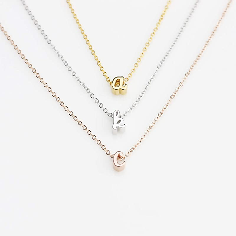 Initial necklace in gold or silver pendant with letter personalized present for best friend