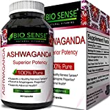 Pure Ashwagandha Root Supplement for Adaptogenic Relaxation Sleep Support Insomnia Relief – Reduce Stress Anxiety with Natural Herbs – Balance Mood and Boost Energy Levels – 60 Capsules by Biosense
