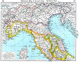ITALY. Reference Map of Ancient Italy Northern Part - 1956 - old map