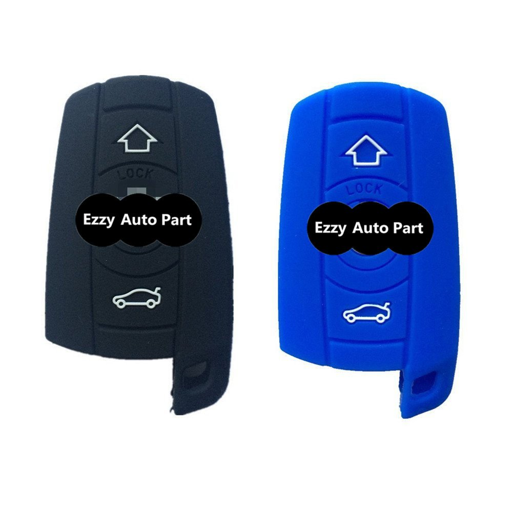 1x New Black Rubber Silicone Remote Key Case Cover Chains Bag Key Fob Skin Covers Replacement for BMW 128i 328i 328i Xdrive 335i 335i Xdrive 650i Fob