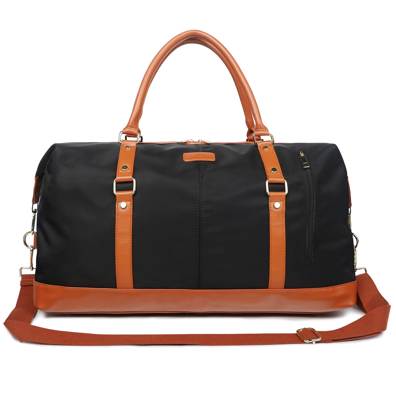 Oflamn Duffle Bag Canvas Leather Weekender Overnight Travel Carry On Bag (Black, X-Large) by Oflamn