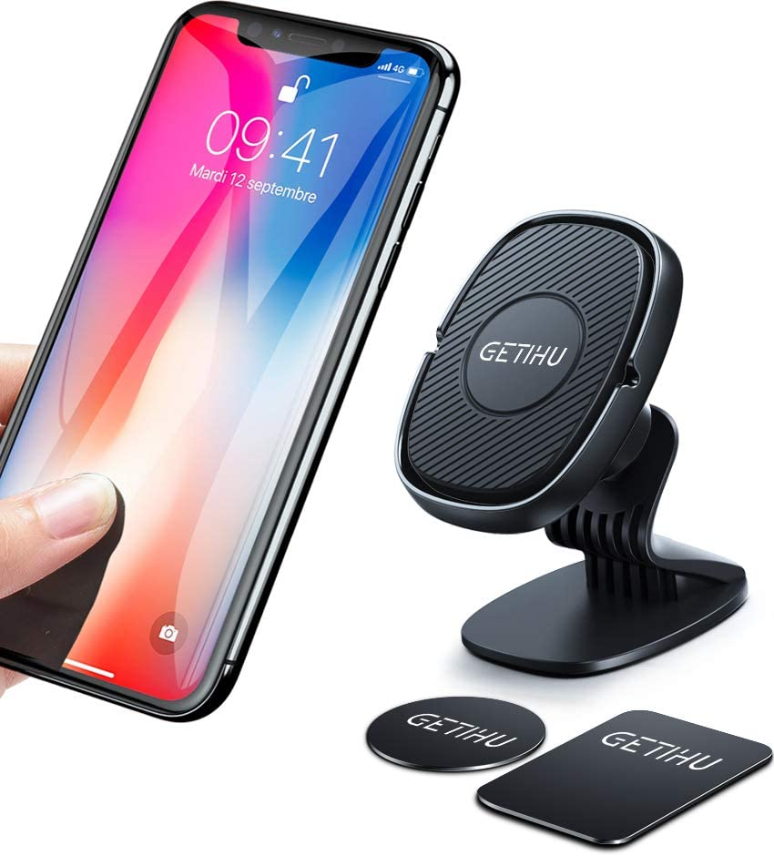 GETIHU Phone Holder for Car, 360° Dashboard Car Phone Mount, Universal Magnetic Cell Phone Car Holder GPS, Compatible with iPhone 12 11 XS X 8 Plus Samsung S10 BlackBerry HTC Motorola Oneplus etc.