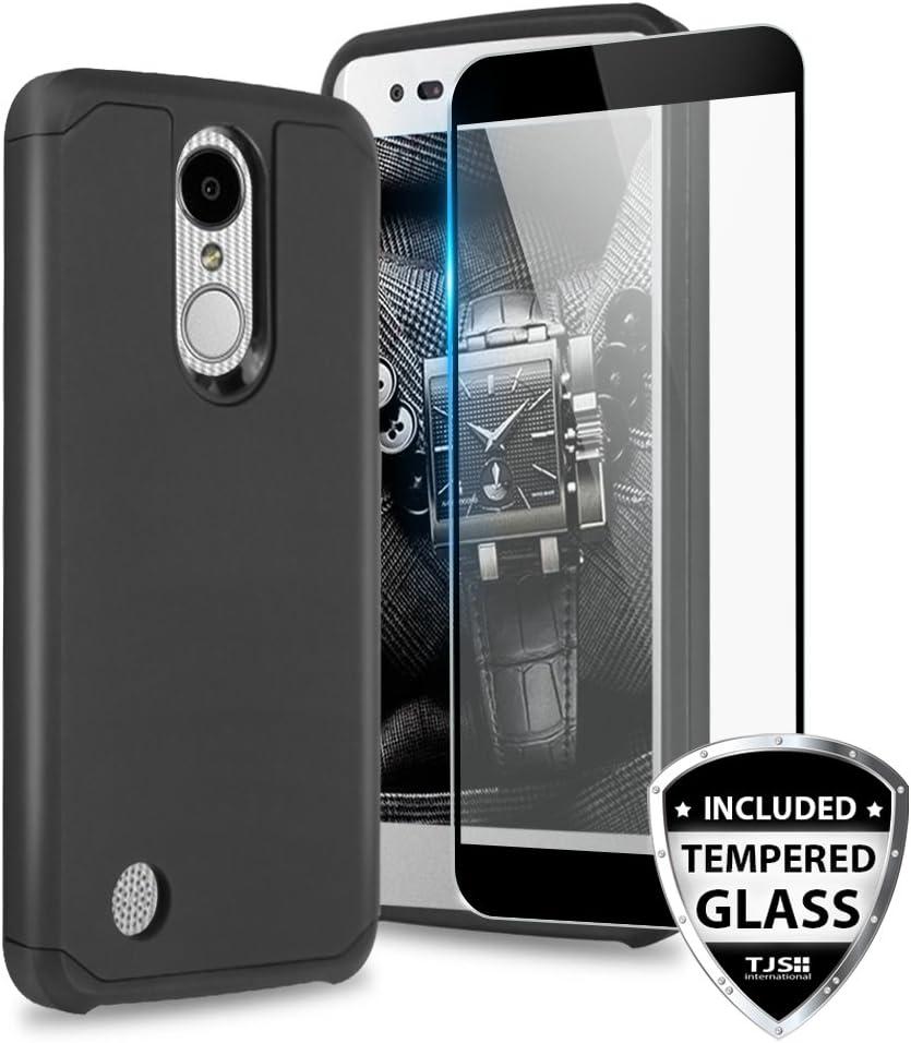 TJS Case for LG Aristo 2/Aristo 2 Plus/Aristo 3/Aristo 3 Plus/Tribute Dynasty/Tribute Empire/Fortune 2/Rebel 3 LTE [Full Coverage Tempered Glass Screen Protector] Hybrid Armor Phone Cover (Black)