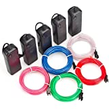 ZITRADES 9ft Neon Glowing Strobing Electroluminescent El Wires Multiple Color Blue,Green,Red,Pink,White