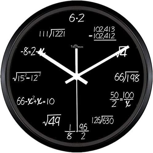 Zaoniy 12-inch Metal Math Wall Clock, Unique Wall Clock Modern Design Novelty Maths Equation Clock,Each Hour Marked by a Simple Math Equation Black