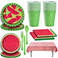 Picnic Watermelon Tableware For 16 Large And Small Plates Napkins Red Gingham Tablecloth Green Cutlery And Party Cups Decorated Party Supplies For Outdoor Summer Fruit Barbecue Theme And More