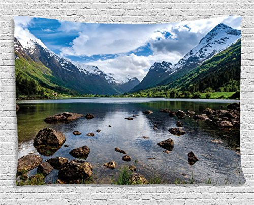 Ambesonne Nature Tapestry, Mountains River and Open Sky Natural Beauties Norway Fjords Nordic Landscape, Wall Hanging for Bedroom Living Room Dorm, 80 W X 60 L Inches, White Green ()