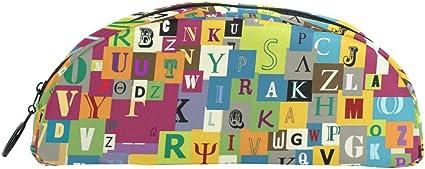Colorido alfabeto inglés mayúscula letras estuche escolar portatodo niños gran capacidad bolsa de maquillaje cosméticos cajas oficina viaje bolsa: Amazon.es: Oficina y papelería