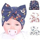 BOROKIN Baby Hospital Newborn and Infant Nursery Beanie Sparkle Gem with Bow Caps, 3 or 4 Pieces