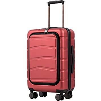 COOLIFE Luggage Suitcase Piece Set Carry On ABS+PC Spinner Trolley with pocket Compartmnet Sakura pink, 2-piece Set