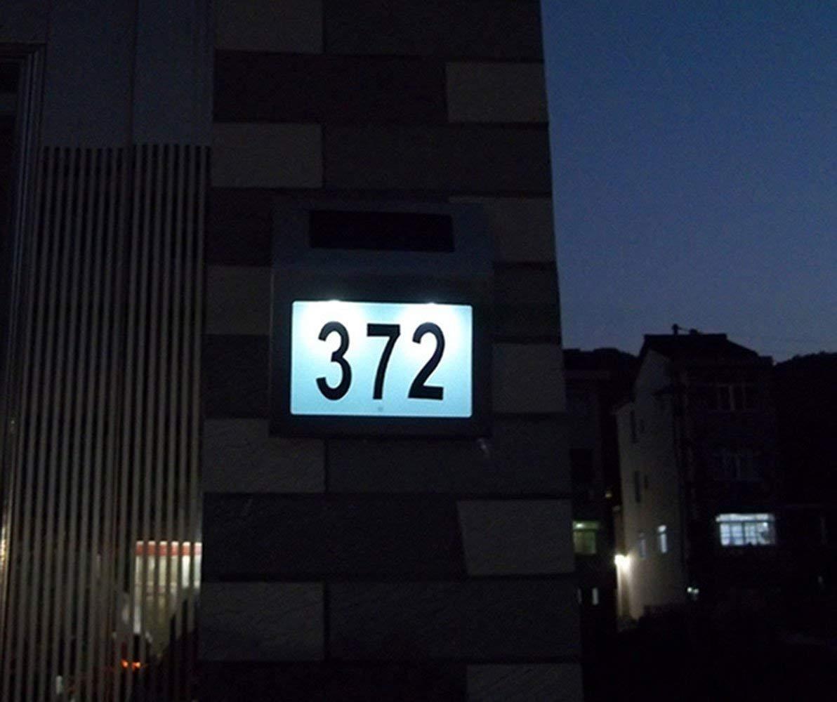 UISEBRT Solar LED Hausnummer Beleuchtet Edelstahl Solar-Panel Solarhausnummer mit 2 LED f/ür au/ßen Solarleuchte mit D/ämmerungsschalter und amorphem Silizium