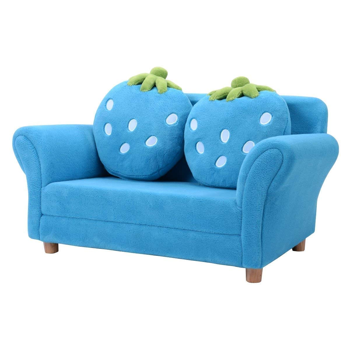 HONEY JOY Children Sofa, Kids Couch Armrest Chair, Upholstered Living Room Furniture, Lounge Bed with Two Strawberry Pillows (Blue)