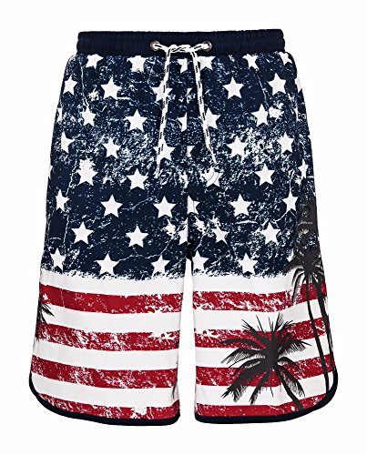 Snapper Rock Little Boys' Regular Board Shorts Swimbottoms, Retro Flag, 4 by Snapper Rock