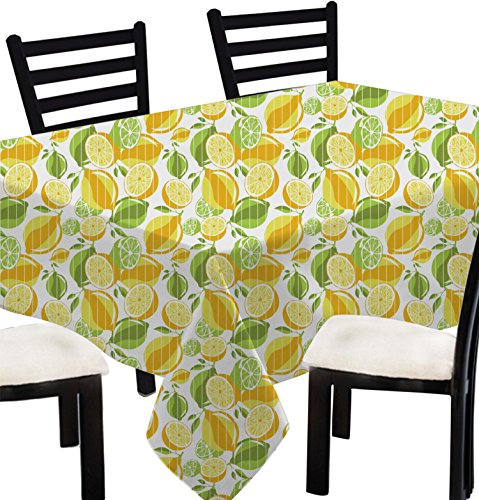 [Indian Printed Square Table Cover Vintage -100% Cotton Lemon Print Tablecloth Square Yellow Green -55