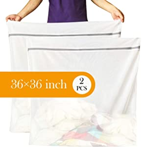 Runtoo [36 x 36 inches, 2 Pack Extra Large Laundry Bag Delicates Wash Bags Camp Travel Heavy Duty Zipper Big Net Sweater Curtain Bedding Robes Blanket Jumbo Toys Organizer
