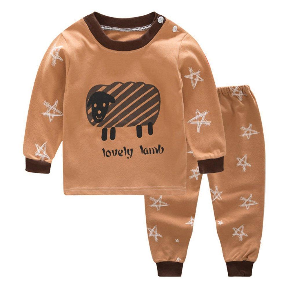Juleya 2 Pieces Newborn Baby Cotton Fleece Pajamas Winter Warm Long Sleeve Sleepwear for 0-4 Years Old Kids M171101ETBN-J
