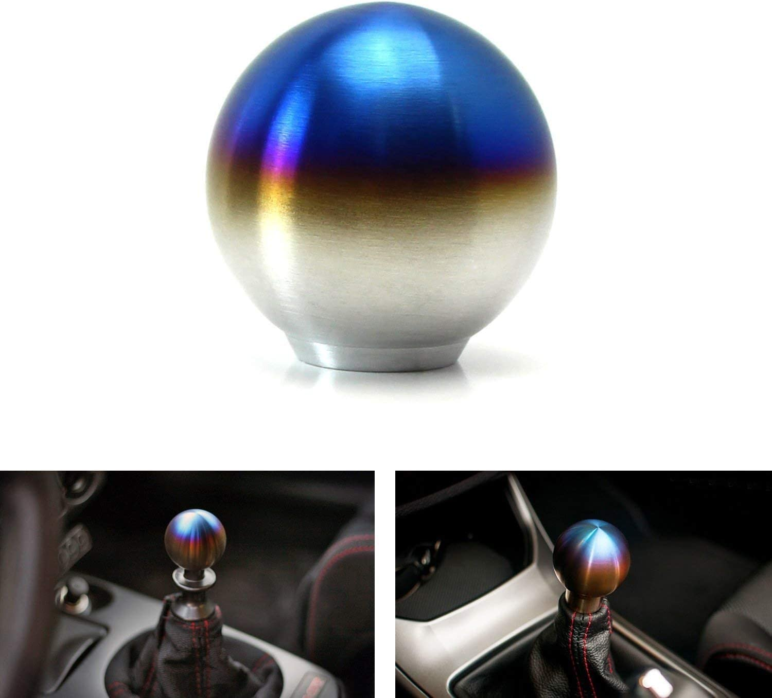 iJDMTOY Burnt Titanium Finish JDM Sphere Shift Knob Universal Fit Compatible With Most Car 4 5 6 Speed Manual or Automatic etc.