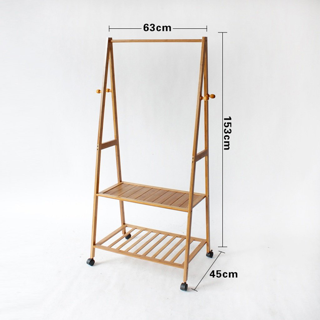 2 63cm BO Wen Home- Coat Racks Landing Hanger Bedroom Solid Wood Bamboo Simple Mobile Storage Rack (color    4, Size   70cm)
