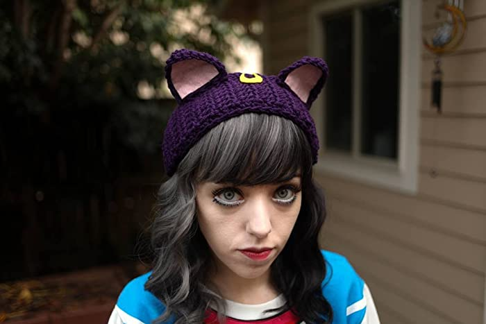 9820f417968 Amazon.com  Luna - Handmade Sailor Moon Kitty Ears Crochet Ear Warmer  Headband Cat Ears  Handmade