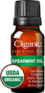 Cliganic USDA Organic Spearmint Essential Oil, 100% Pure Natural Undiluted, for Aromatherapy (10ml) | Non-GMO Verified